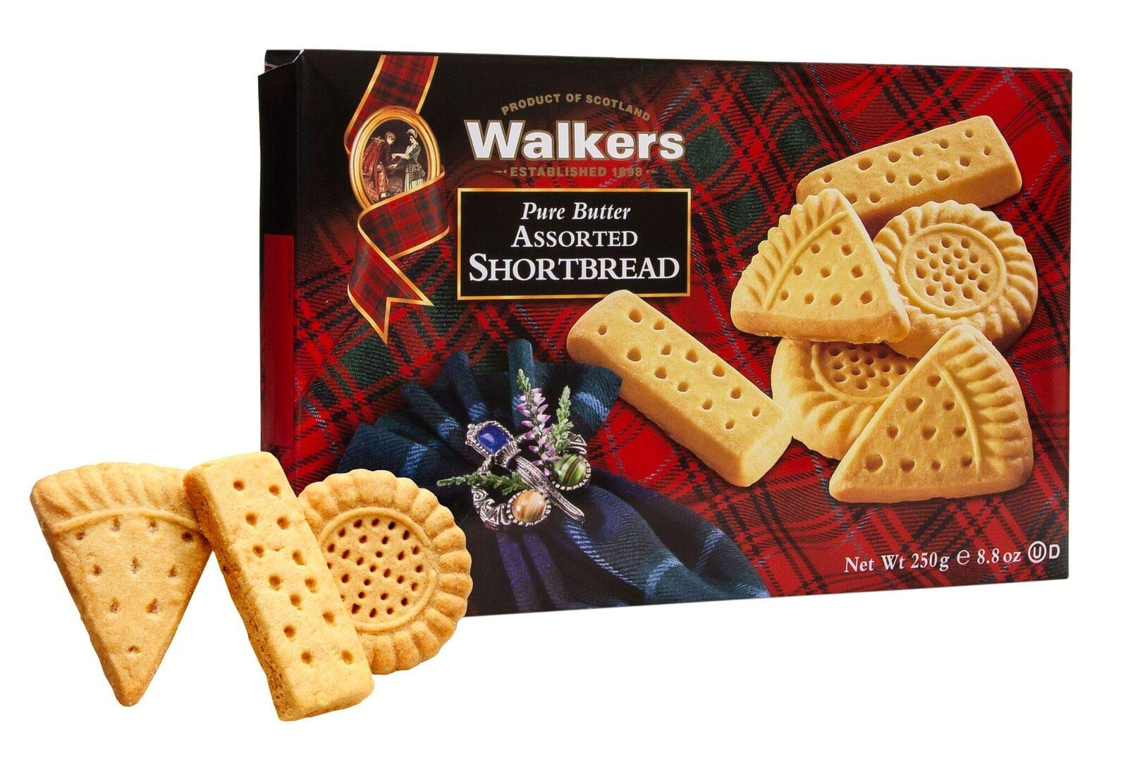 Walkers Shortbread Assorted, Traditional Pure Butter Shortbread Cookies, 8.8 oz. Boxes (6 Boxes) by Walkers Shortbread