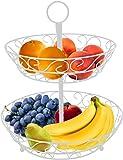 Sorbus 2 层水果篮夹和装饰碗架 - 完美适用于水果、蔬菜、零食、家庭用品等等 白色 FRT-BSKT2-WHA