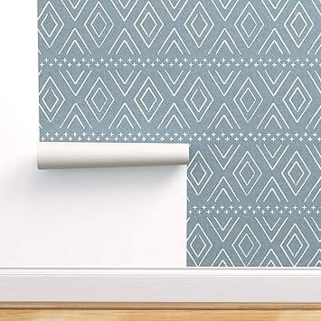 Spoonflower Peel And Stick Removable Wallpaper Boho Diamonds Dusty Blue Mudcloth Bohemian Geometric Modern Baby Nursery Safari Print Self Adhesive Wallpaper 12in X 24in Test Swatch Amazon Com