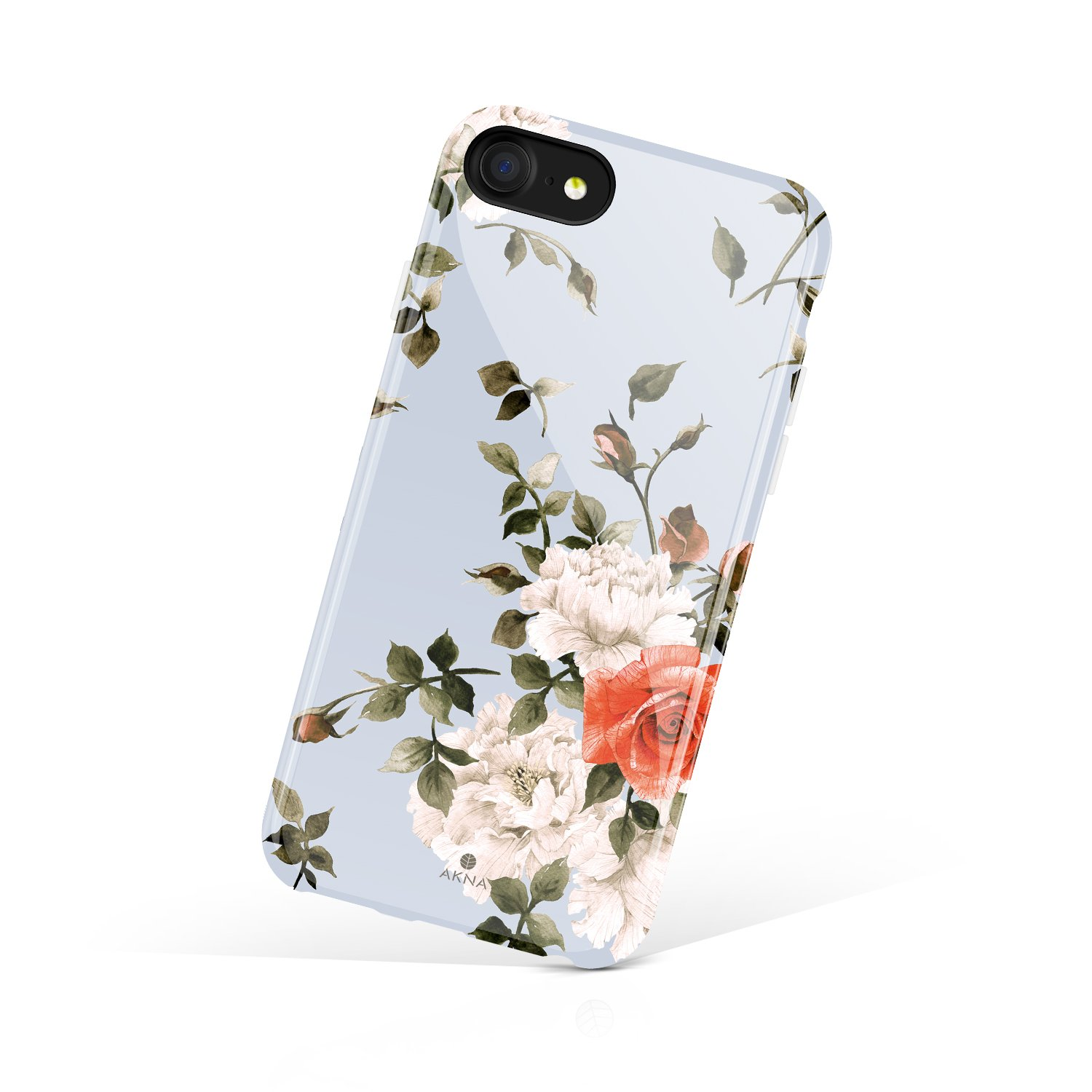I Phone 8 & I Phone 7 Case Floral, Akna Collection Flexible Silicon Cover For Both I Phone 8 & I Phone 7 [Cashmere Blue Floral](776 U.S) by Akna