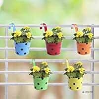 Ugaoo Dotted Round Railing Pots Planters (Multicolor, Set of 5)