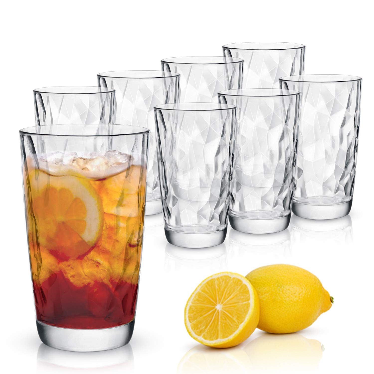 Emenest Clear Cooler Drinking Glasses (Set of 8) | 15.75-oz Real Glassware with Heavy Base | 8 Highball Drinkware Tumbler Set For Water, Whiskey, Cocktails | Best Kitchen Gift