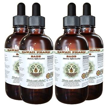 Sage Alcohol-FREE Liquid Extract, Organic Sage (Salvia officinalis) Dried Leaf Glycerite