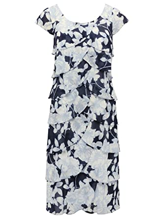 70fa52ac85b M Co Ladies Short Cap Sleeve Scoop Neck Tired Chiffon Ruffle Floral Print Pencil  Shutter Dress Blue