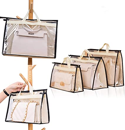 Bemodst 4pcs Handbag Dust Cover Transparent Handbag Dust Storage Bag for Hanging Closet with Zipper and Space Saving Storage Bag Style-B