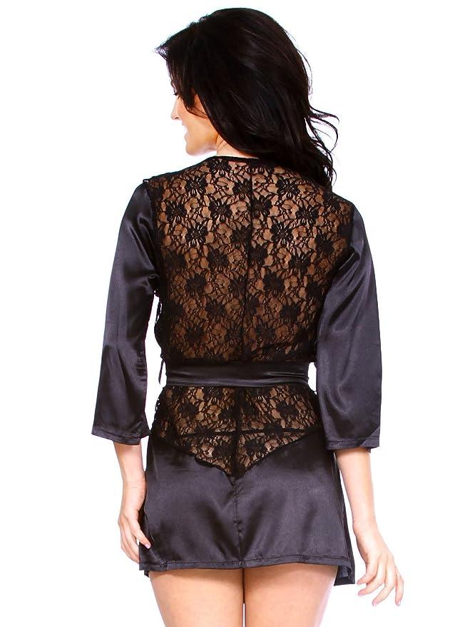 Ropa interior de Kimono de lenceršªa de encaje de mujer sexy, negro, L: Amazon.es: Ropa y accesorios