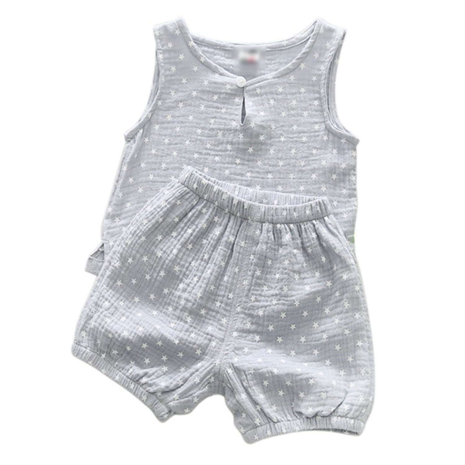 Children Star Tree Printed Sleeveless Boys Girls Tank Tops and Shorts 2 Pcs Sets,Gray,24M