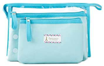 082353aebf04 Amazon.com   Zhoma 3 Piece Waterproof Cosmetic Bag Set - Makeup Bags And Travel  Case - Light Blue   Beauty
