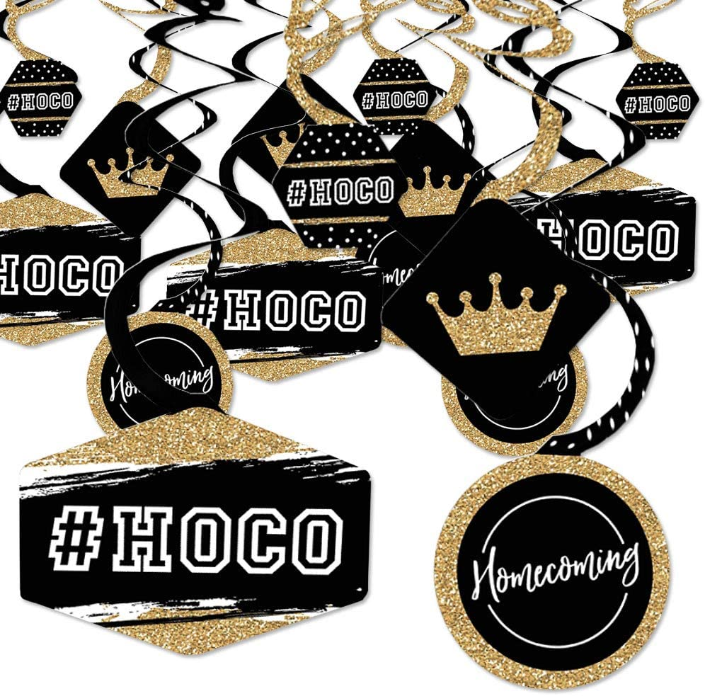Big Dot of Happiness Hoco Dance - Homecoming Hanging Decor - Party Decoration Swirls - Set of 40