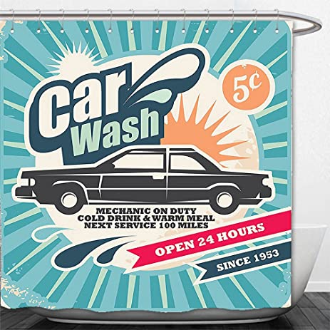 Amazon.com: Interestlee Shower Curtain 1950s Decor Retro Car Wash ...