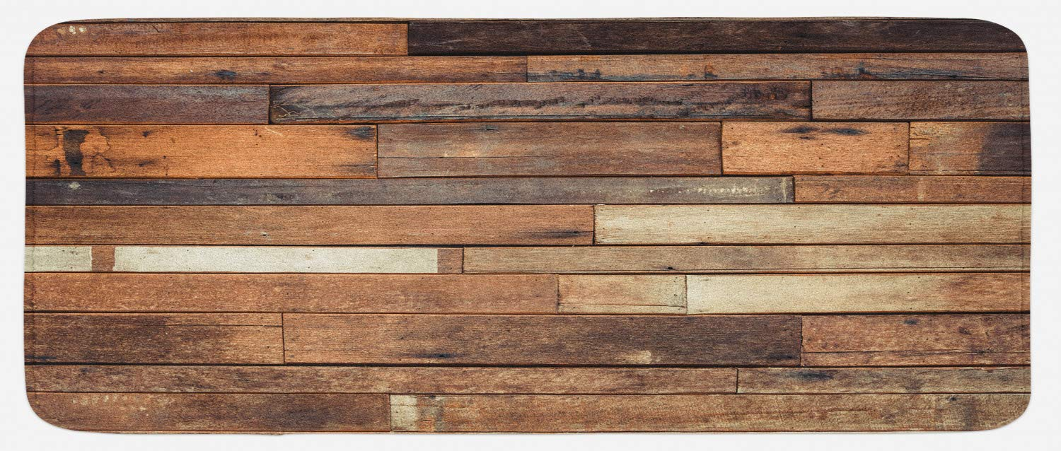 Ambesonne Wooden Kitchen Mat, Rustic Floor Planks Print Grungy Look Farm House Country Style Walnut Oak Grain Image, Plush Decorative Kithcen Mat with Non Slip Backing, 47 W X 19 L Inches, Brown