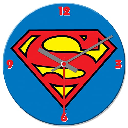 Vandor 74389 Superman Logo Cordless Wood Wall Clock, 13.5-Inch, Multicolored