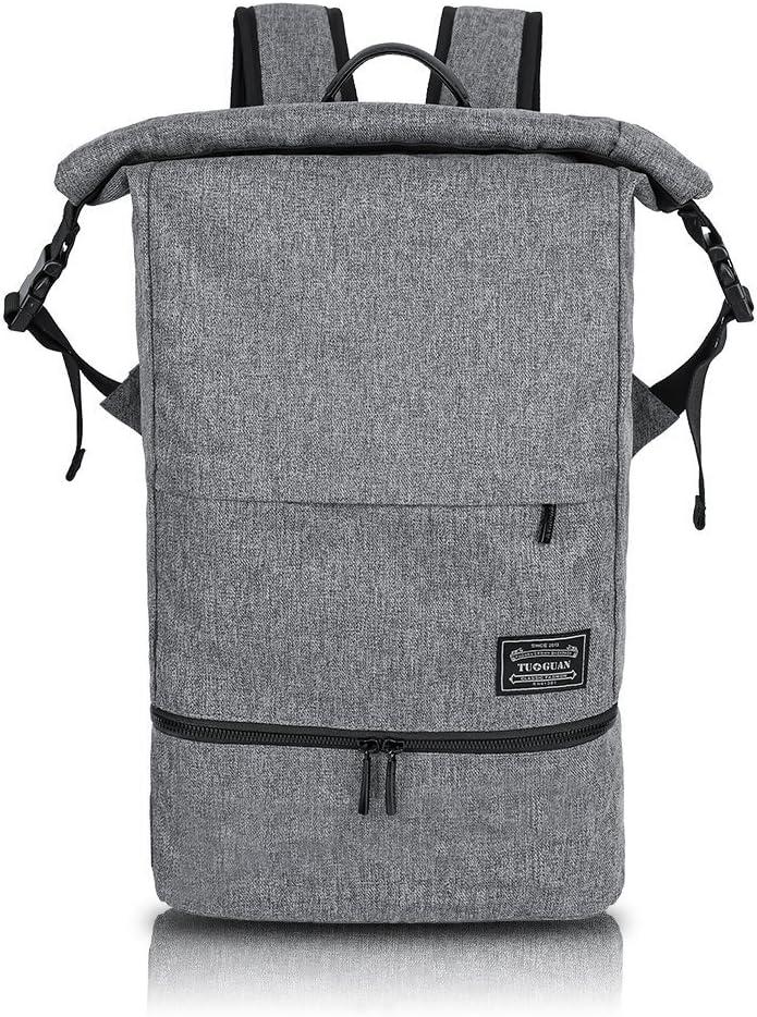 Mochila Deportiva para Hombre Mujer - Backpack Impermeable Separación de Seco y Húmedo, Daypack Escolar Antirrobo Top Roll de Moda, 25L Cabe Laptop 15.6