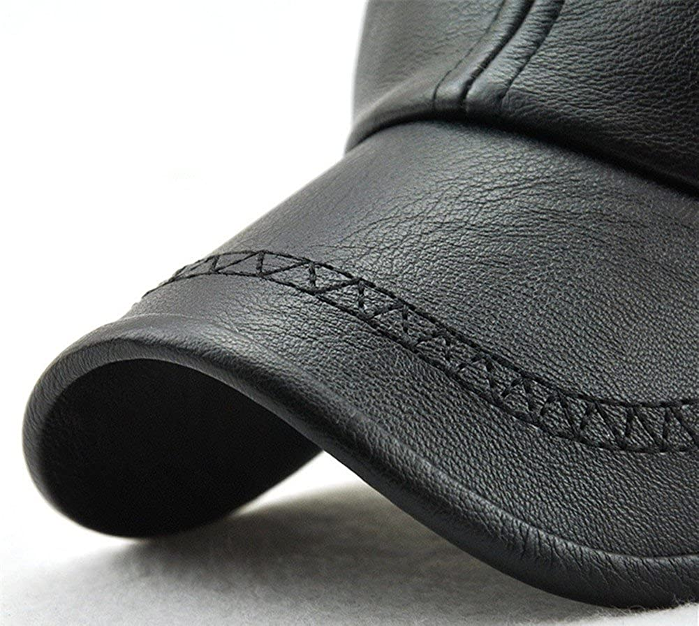 Roffatide Mens Embroidered Soft PU Leather Straps Dad Hat Baseball Cap Strapback Autumn and Winter Black at Amazon Mens Clothing store: