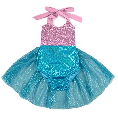 30126b3d62d3 Amazon.com  Carkoo Mermaid Baby Girl One Piece Swimsuits With Tutu Dress   Clothing
