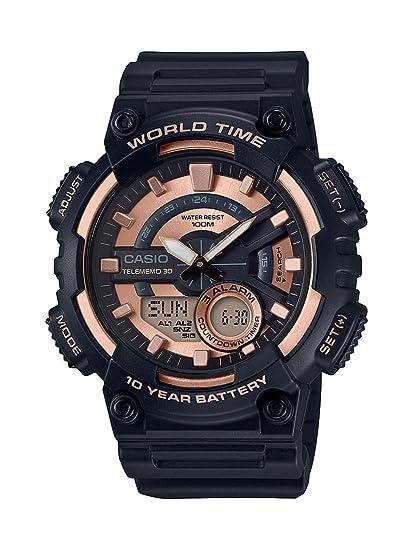 Casio Reloj Analogico-Digital para Hombre de Cuarzo con Correa en Resina AEQ-110W-1A3VEF: Amazon.es: Relojes
