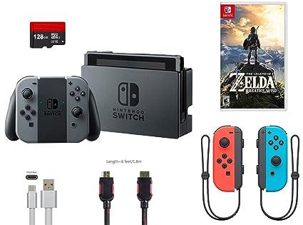 Amazon Com Nintendo Switch Bundle 7 Items 32gb Console Gray Joy