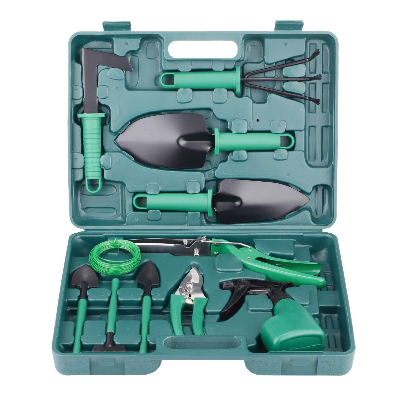 BYUEE Gardenint Tool Set, 12 Pieces Garden Hand Tool Set Gifts for Gardener (Green)