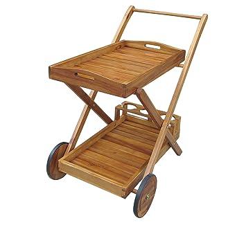 Charles Bentley jardín madera alimentos y bebidas carrito con ruedas y bandeja carrito con ruedas: Amazon.es: Hogar