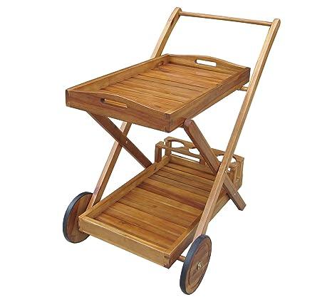Charles Bentley jardín madera alimentos y bebidas carrito con ruedas y bandeja carrito con ruedas
