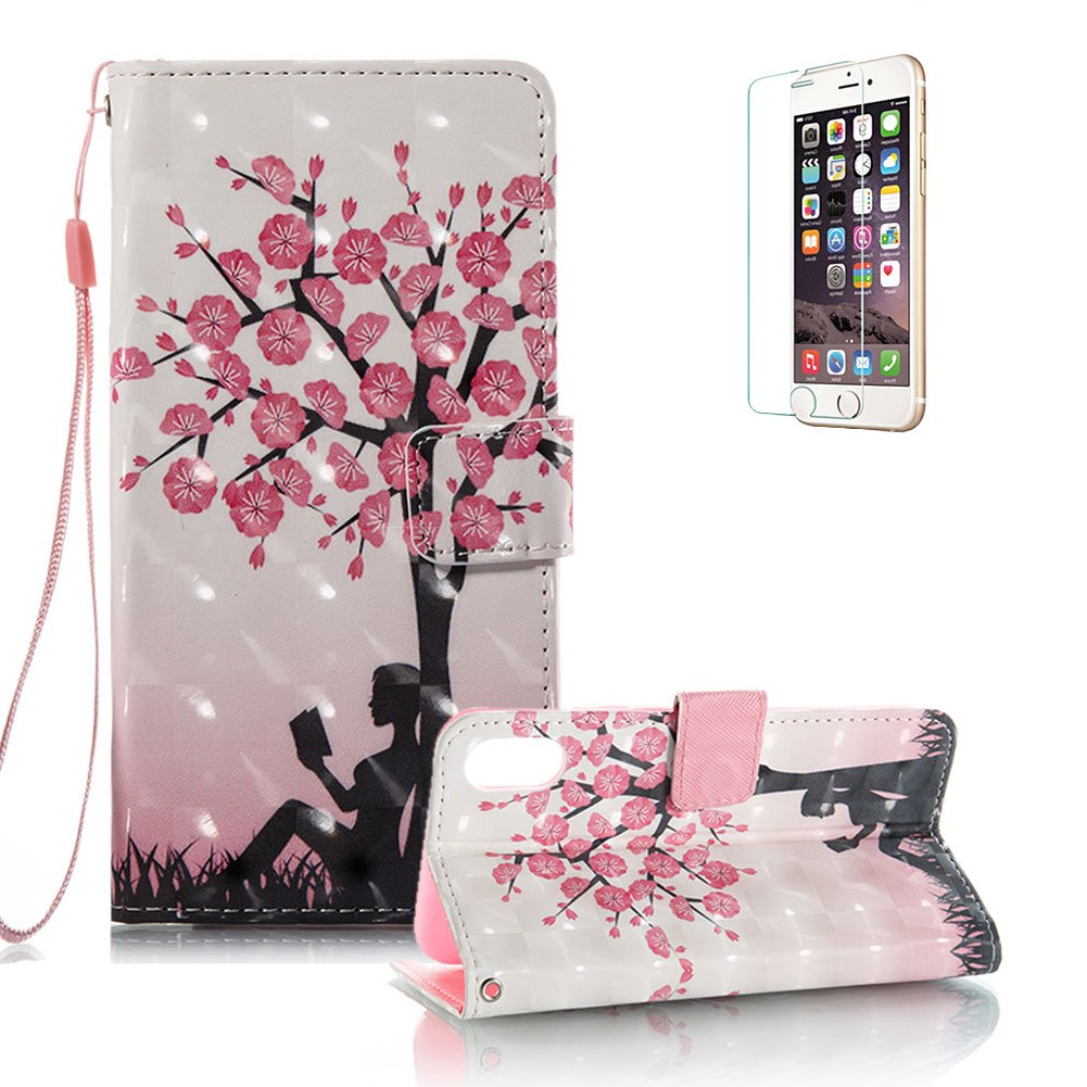 iPhone X Case [with Free Screen Protector].Funyye Elegant Premium Folio PU Leather Wallet Magnetic Flip Cover with [Wrist Strap] and [Colorful Printing Painting] Stand Function Book Type Stylish Full Protection Holster Case Cover for iPhone X -Mandragora F