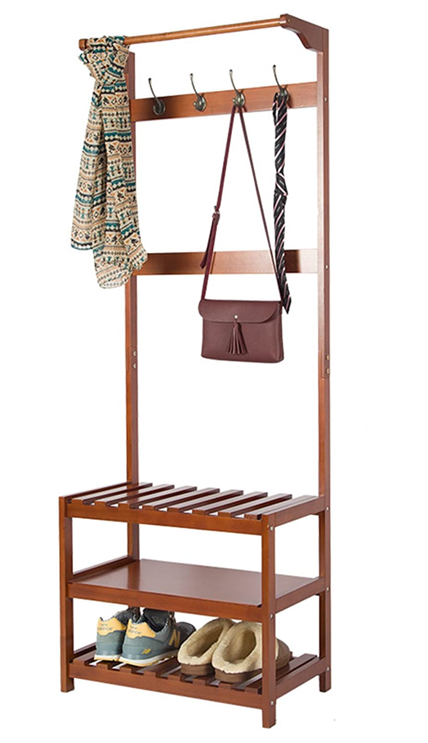 yaker's collection Wood Entryway Hall Tree Coat Rack with 4 Cloths Hat Hooks and 3 Tiers Storage Bench