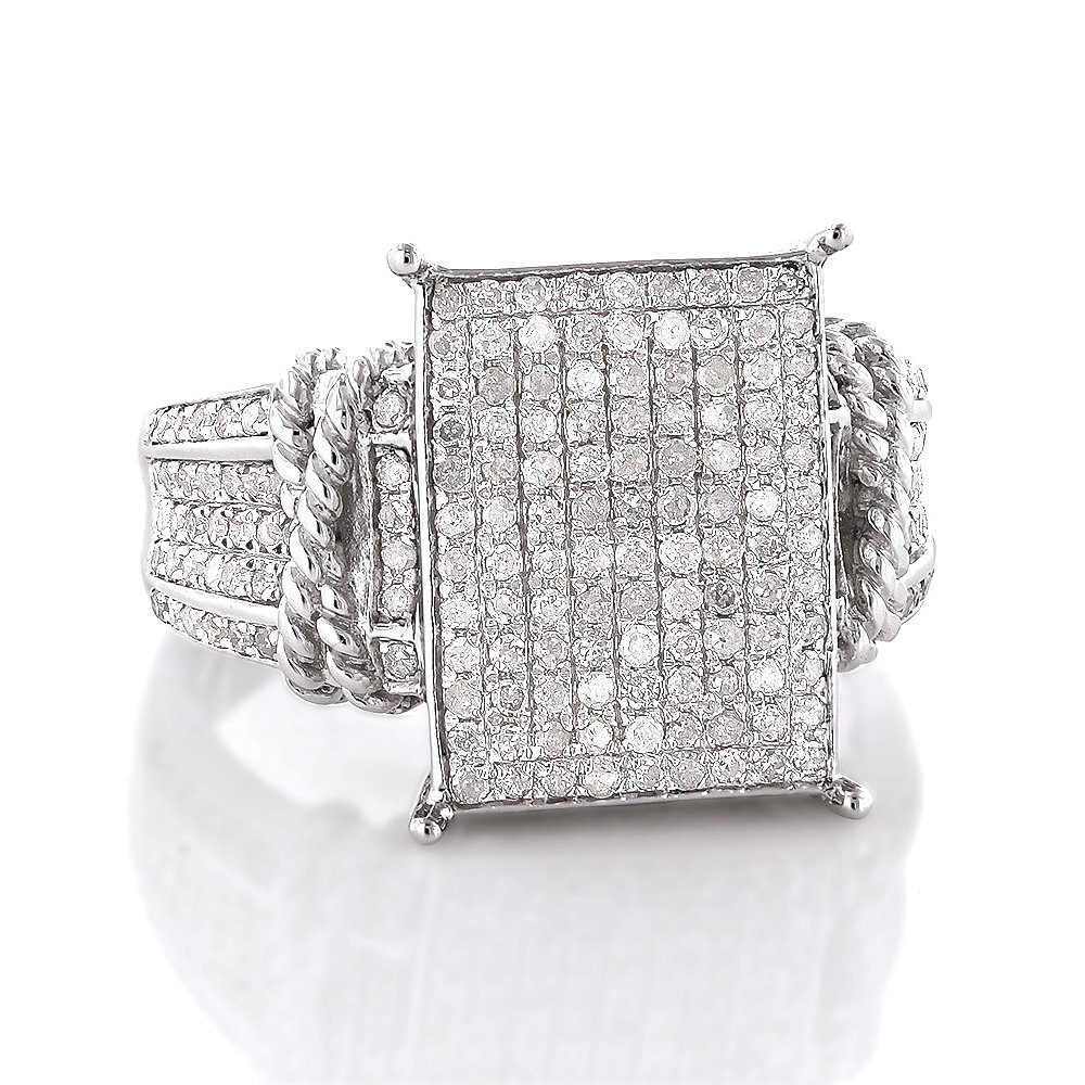 Sterling Silver Ladies Affordable Natural 0.6 Ctw Diamond Rhodium Plated Engagement Ring (Size 9)