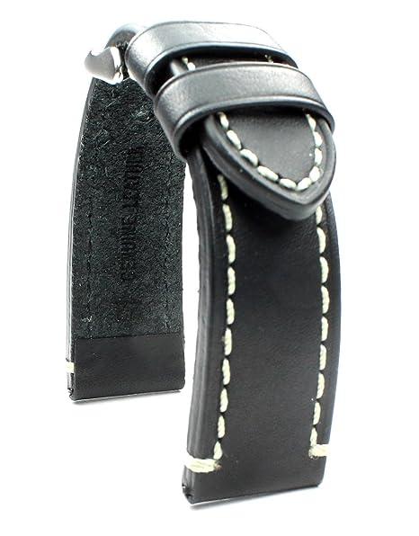 Banda de cuero 22 mm banda catal onia Planeador Relojes Retro Strap Black Negro costuras blancas.: Amazon.es: Relojes