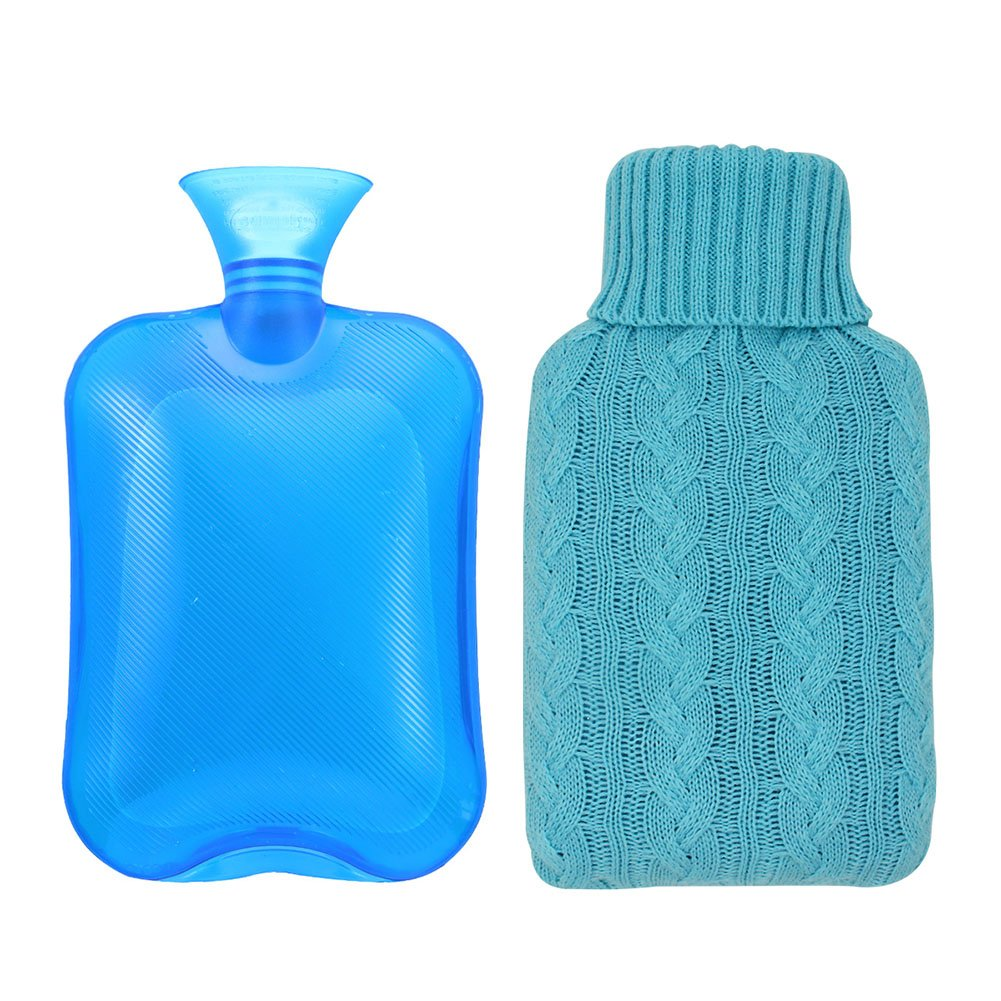 Samply Transparent Hot Water Bottle,PVC Hand Warmer with Knit Cover,Blue,2L
