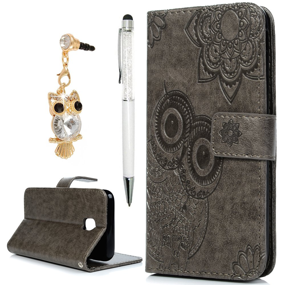 For Galaxy J3 Case 2017,YOKIRIN PU Leather Flip Wallet Case Magnetic Book Style Embossed Owl with Kickstand Cash Card Holder Slots Protective Cover Case for Samsung Galaxy J3, Gray NN6FBAZH209F-H-A-M4662-UK