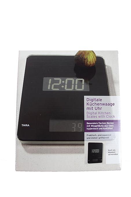 TCM Tchibo – Báscula de cocina digital con reloj negro