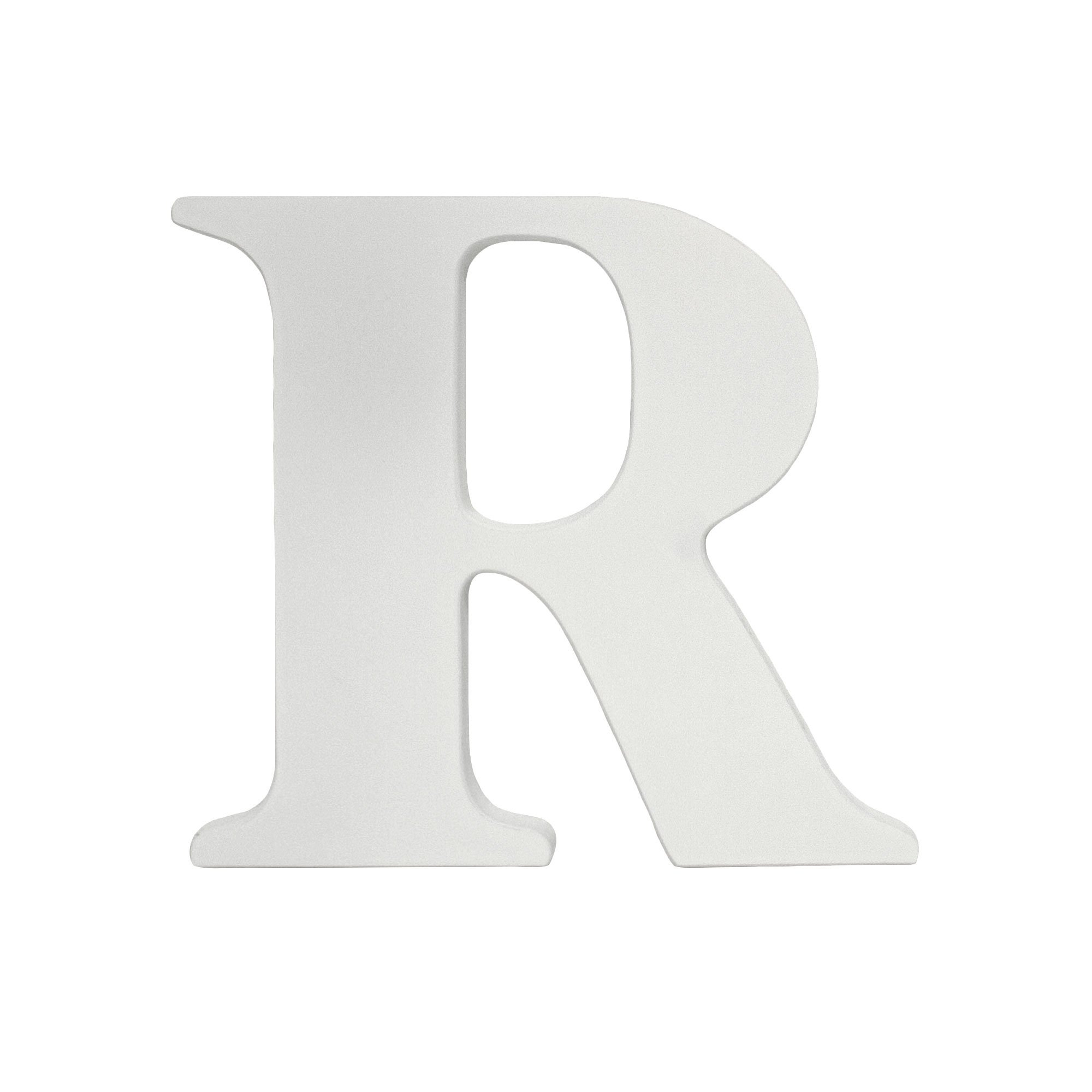 White 8 Inch Hanging Wood Letter R by Little Haven
