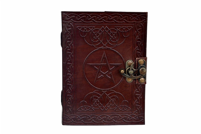 Pentagram Pentacle Handmade Book of Shadows Embossed Leather Bound Journal Diary vintage leather bazaar