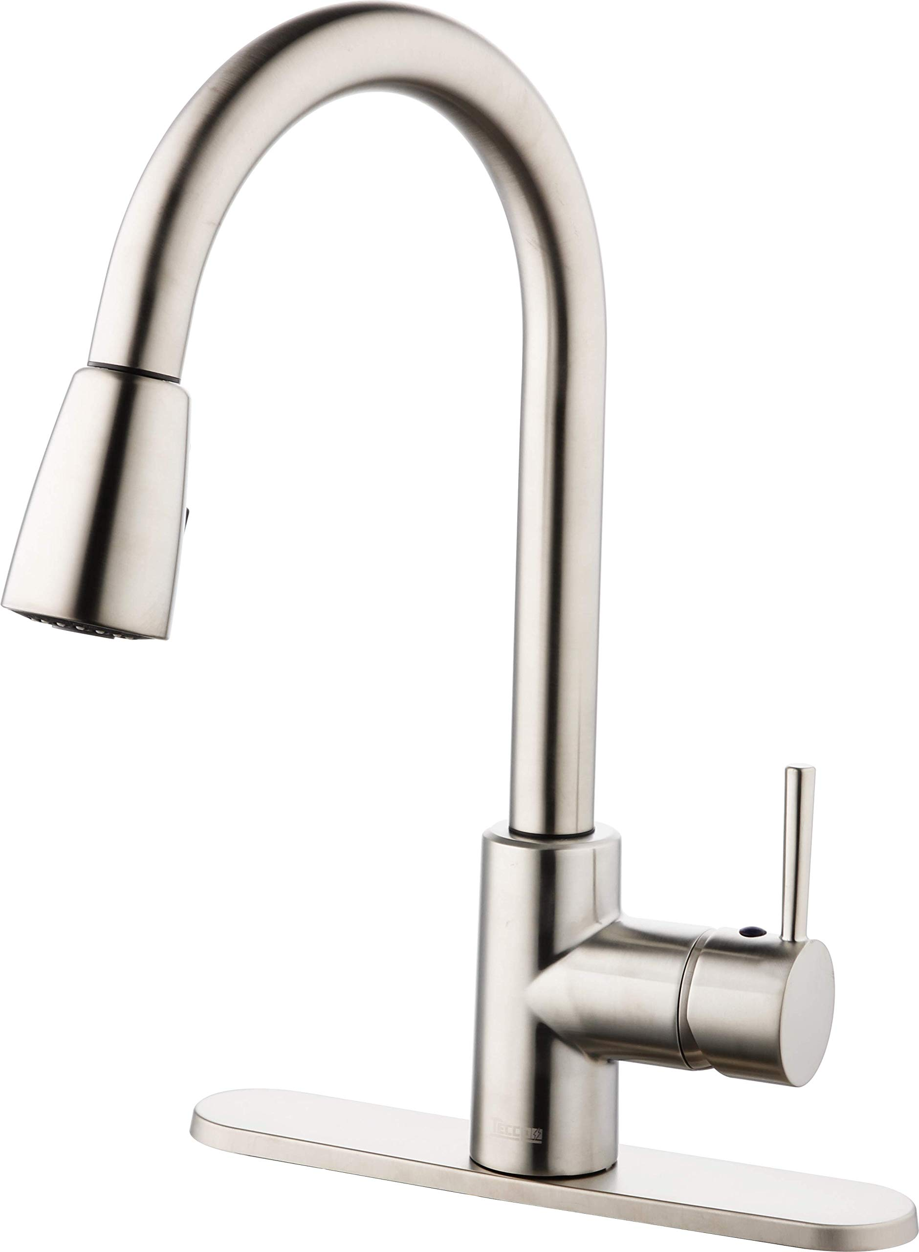 TECCPO Single Handle Brushed Nickel Pull out Kitchen Faucet, Stainless Steel Kitchen Sink Faucets with Pull down Sprayer