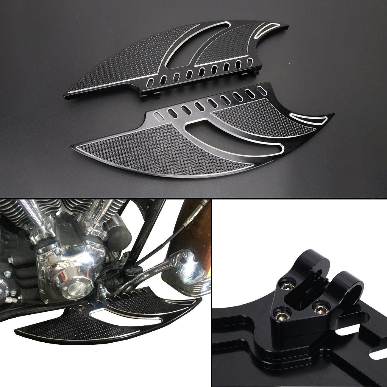 E-Most Black Deep Cut Flame Driver Stretched Floorboards for Harley FLH FLST FLD Parts