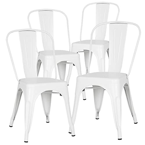 Poly and Bark Trattoria Kitchen and Dining Metal Side Chair in White Set of 4