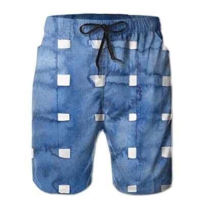 Bdna Blue And White Plaid Men's Beach Shorts Swim Trunks Casual Sport Print Short Pants Jogging Pants