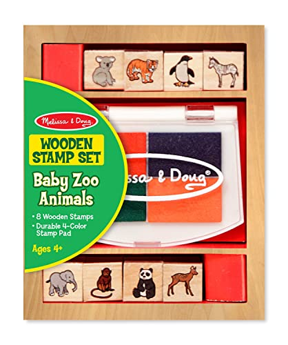 Melissa & Doug 11638 Baby Zoo Animals Wooden Stamp Set: 8 Stamps and 4-Colour Stamp Pad