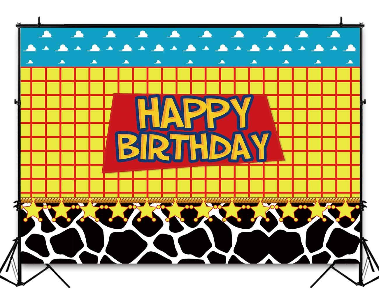 Funnytree 8x6ft Durable Fabric Happy Birthday Party Backdrop No Wrinkles Kids Cartoon Themed Baby Boy Photography Background Western Cowboy Cowgirl Sky Clouds Cow Print Photo Booth Decorations Banner