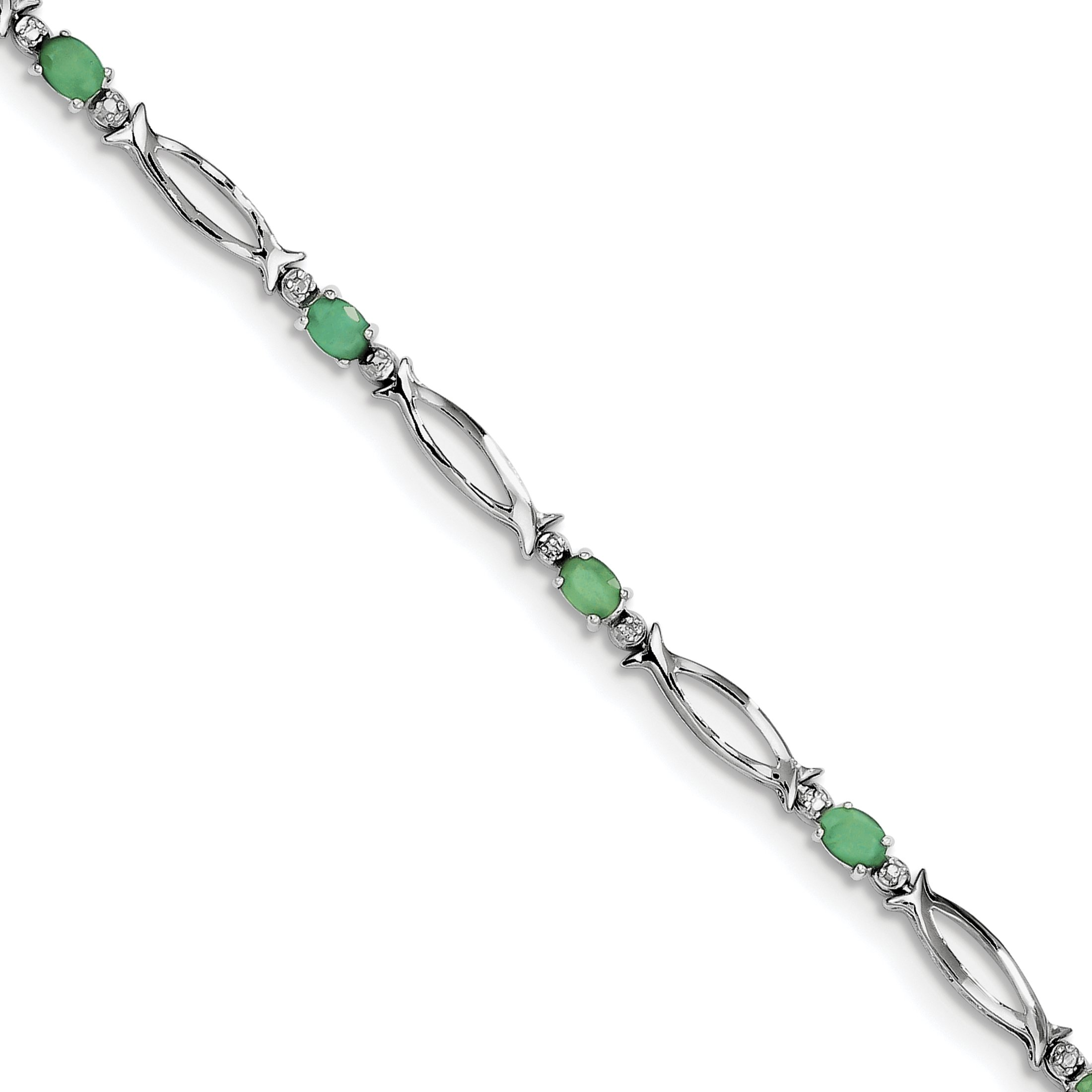 ICE CARATS 925 Sterling Silver Green Emerald Diamond Bracelet 7 Inch Gemstone Fine Jewelry Gift Set For Women Heart by ICE CARATS