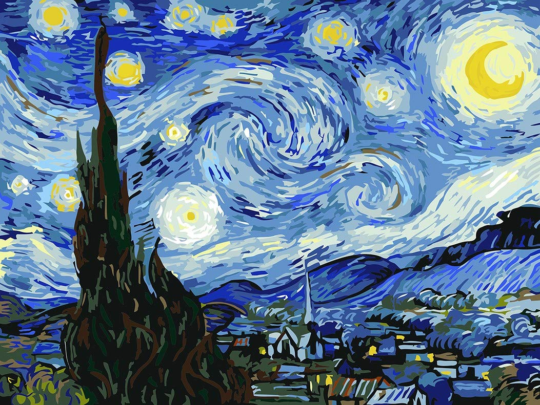 Paint by Numbers for Adults by Banlana, DIY Adult Paint by Number Kits for Beginners on Canvas Rolled 16'' by 20'' (Van Gogh The Starry Night) by Banlana