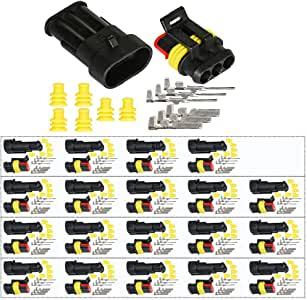 HIFROM 10 Kit 3 Pin Way Waterproof Electrical Connector 1.5mm Series Terminals Heat Shrink Quick Locking Wire Harness Sockets 20-16 AWG