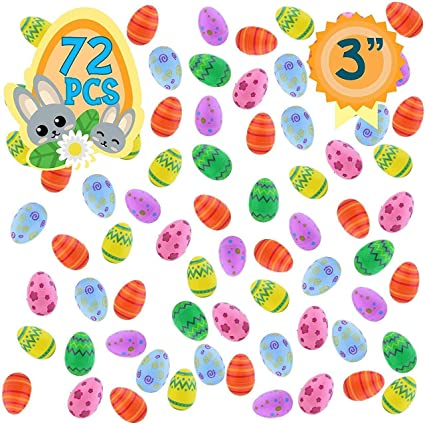 Amazon Com Totem World 72 Plastic Fillable Easter Eggs With Pattern Prints Ready To Fill And Hide Save Money With These Reusable Easter Eggs Perfect For Easter Baskets Party Favors