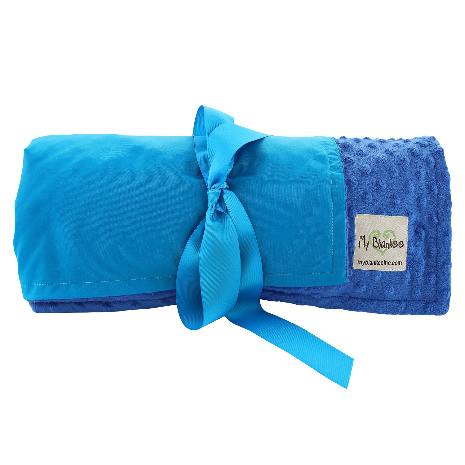My Blankee Extra Large Picnic & Outdoor Blanket Warm and Soft Minky Dot with Waterproof Backing, Royal Blue, 59'' X 85''