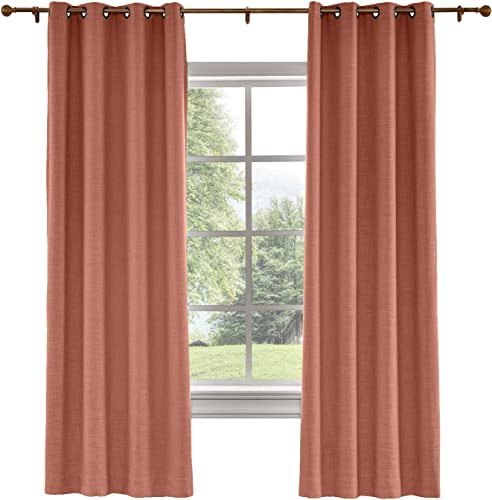TWOPAGES 2 Panels Cotton Linen Curtain Drapery Decorative Curtain, 52 Inches Width x 120 Inches Length, Living Room Curtain, Room Darkening Curtain 1908-25 FireBrick