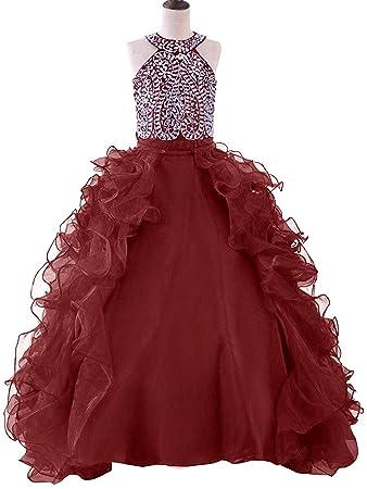 Amazon.com: WZY Girls Crystal Beaded Ruffled Party Christmas Ball ...