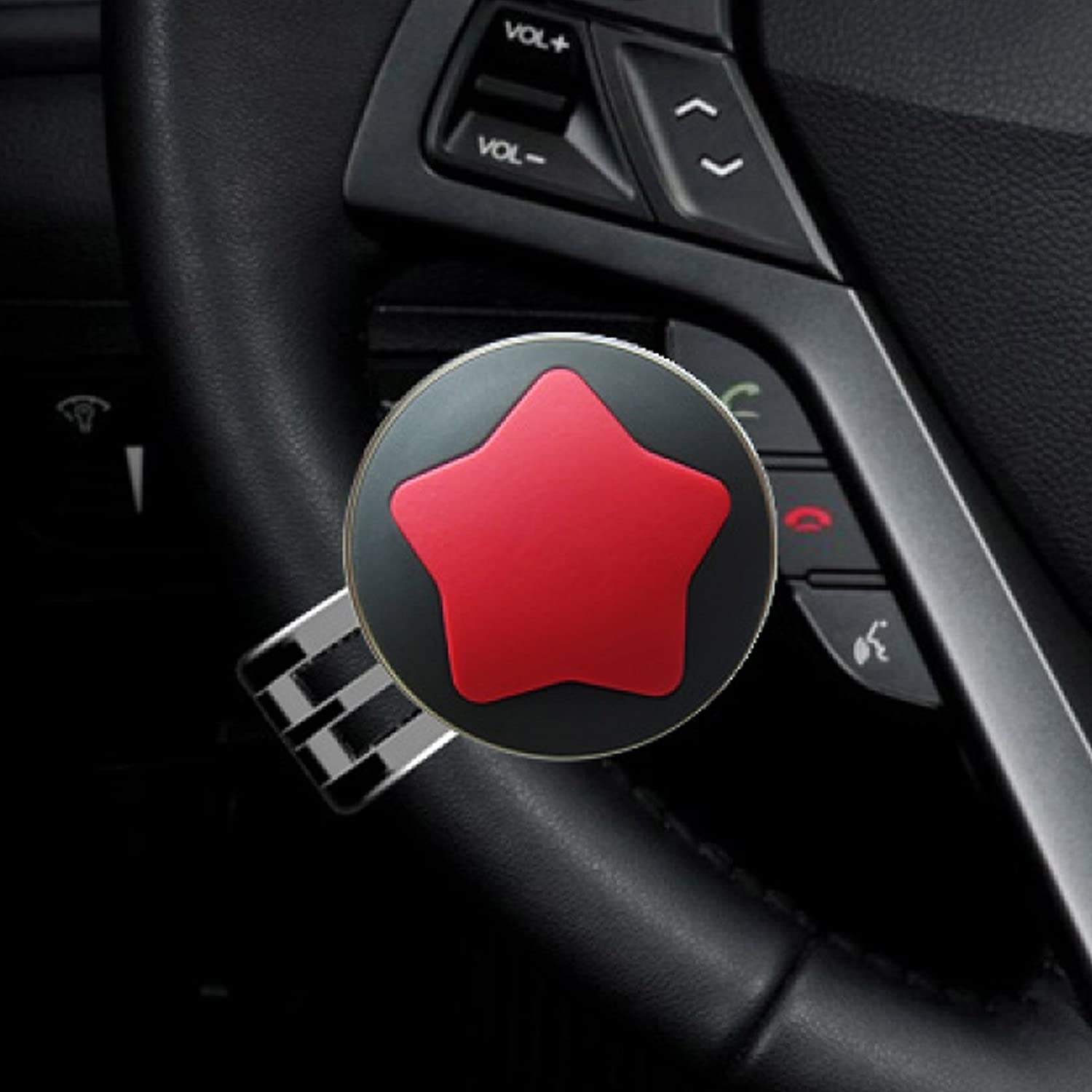 GotoShop Status Star Power Handle Steering Wheel Spinner Knob All Car Vehicle Star_Red