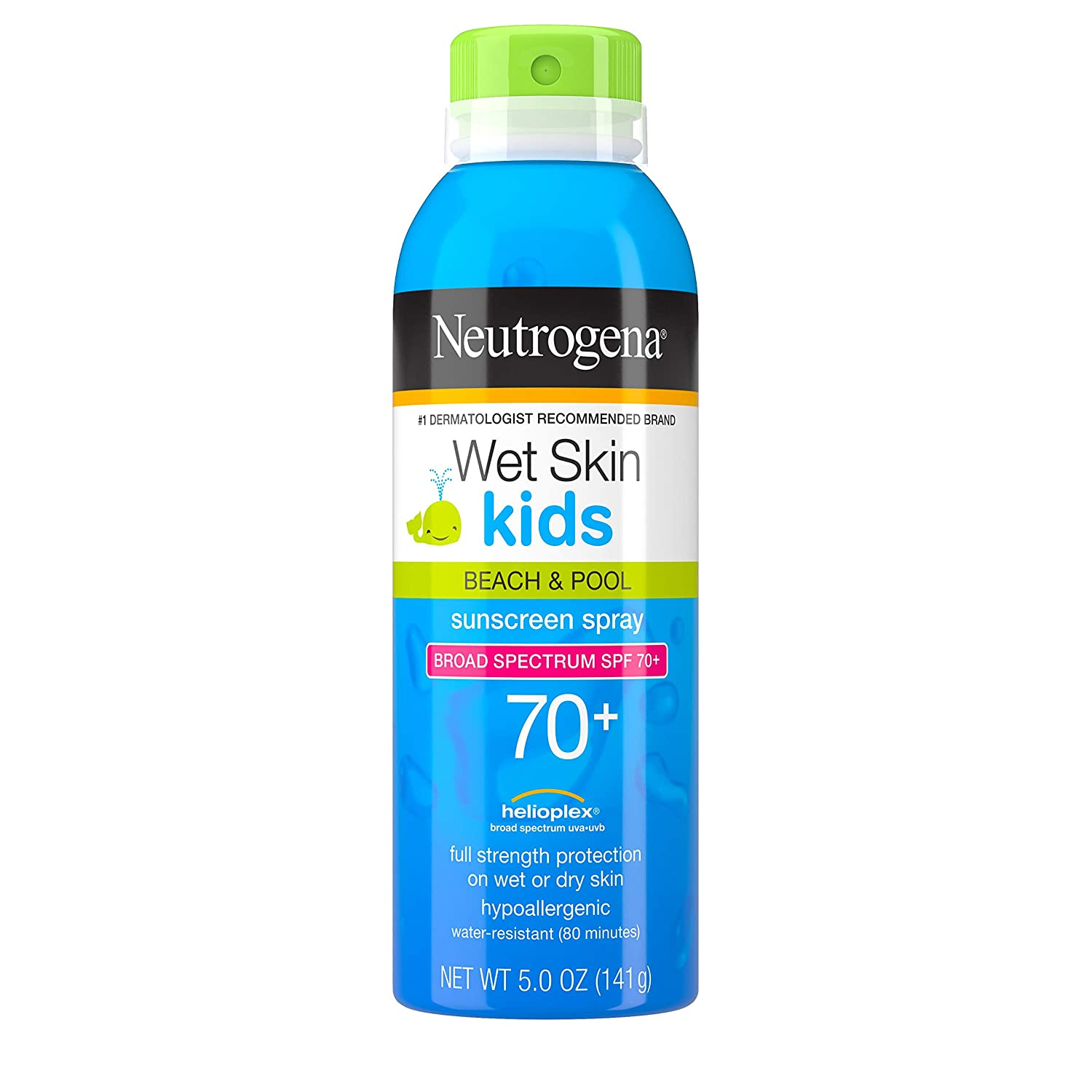 Neutrogena Wet Skin Kids Sunscreen Spray, Water-Resistant and Oil-Free, Broad Spectrum SPF 70+, 5 oz (Pack of 2)
