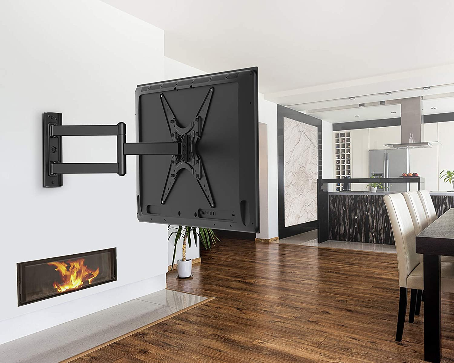 PERLESMITH TV Wall Mount for Most 26-55 Inch Flat Curved TVs with Swivels, Tilts & Extends 19.5 Inch - Wall Mount TV Bracket VESA 400x400 Fits LED, LCD, OLED, 4K TVs Up to 88 lbs, Black (PSMFK1)