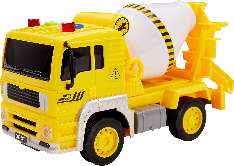 Buyger Camion de Juguetes con Luces y Sonido Hormigonera Construccion Coches de Friccion Vehiculos Juguetes Regalo para Niños Niñas Bebe 3 4 5 Años